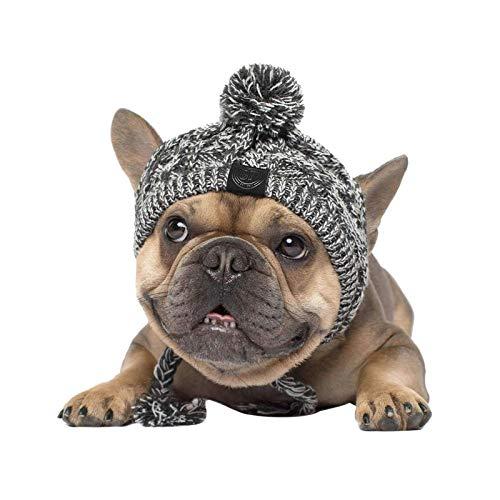 Hundemütze, Winter Strickmütze für kleine, mittelgroße und große Hunde, Warme Mütze Strickmütze mit Ohrlöchern und Pom Pom (M: 41-51cm)