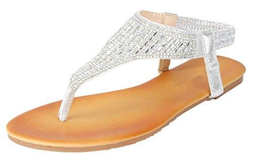 Cambridge Select Women's T-Strap Crystal Rhinestone Thong Slip-on Flat Sandal (9 B(M)...