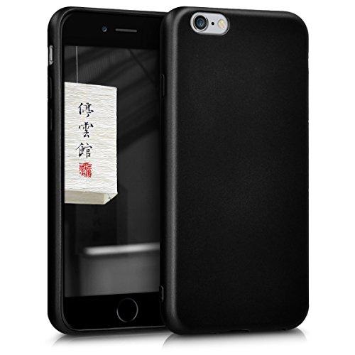 kwmobile Cover Compatibile con Apple iPhone 6 / 6S - Protezione Back Case Silicone TPU effetto Metallizzato - Custodia Morbida nero metallizzato