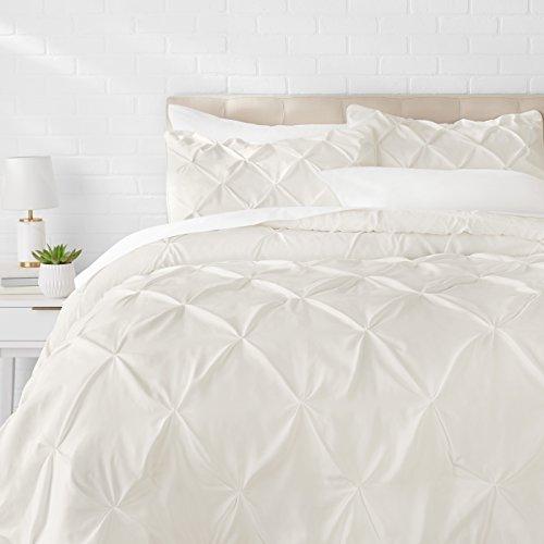 Amazon Basics Pinch Pleat Down-Alternative Comforter Bedding Set - King, Cream