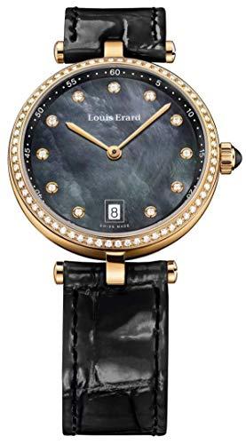 Louis Erard 33MM Romance Collection Orologio Diamante Nero MOP Oro Rosa 11810PS29