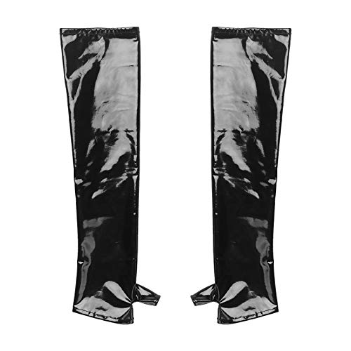 Zaldita Mens 1 Pair Wet Look Patent Leather Half Fingerless Thumb Hole Oversleeve Gloves Outfits Black M