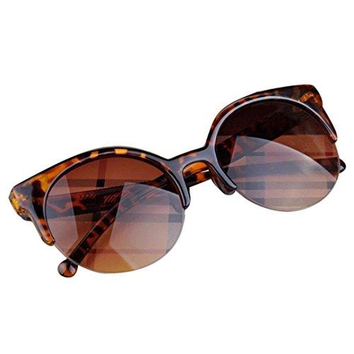 Sonnenbrille FORH Herren Cat Eye Halbrand Runde brille Schutz Linse für Männer Frauen Super Retro Vintage Stil Modedesign Verspiegelt (C)