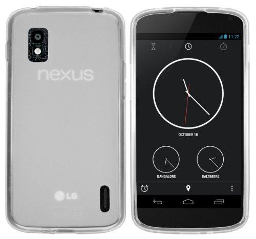 mumbi Hülle kompatibel mit LG Google Nexus 4 Handy Case Handyhülle, transparent Weiss
