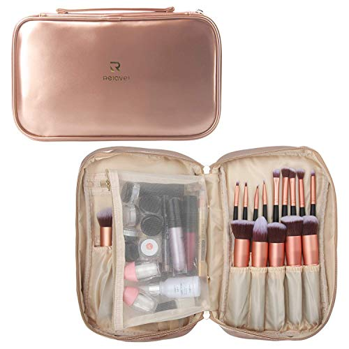 Makeup Brush Bag Multi functional Cosmetic Case Large Makeup Handbag Travel Brush Holder Cosmetic Bag Professional Makeup Brush Organizer Cosmetic Pouch for Woman and Girl(Rose Gold)