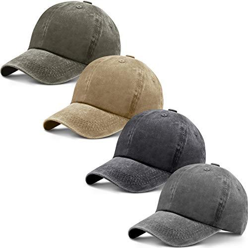 4 Pieces Washed Baseball Cap Adjustable Twill Plain Hat Unisex Baseball Cap Vintage Dad Hat (Black, Gray, Khaki, Army Green)