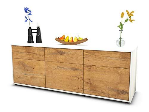 Stil.Zeit Möbel TV Schrank Lowboard Angela, Korpus in Weiss matt/Front im Holz Design Eiche (135x49x35cm), mit Push to Open Technik und hochwertigen Leichtlaufschienen, Made in Germany