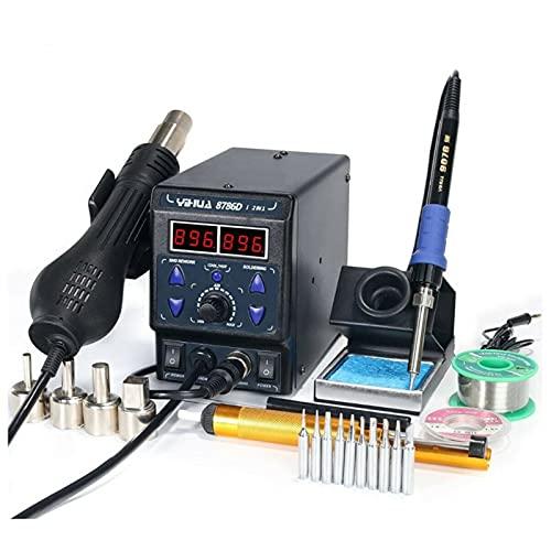 LDFANG 8786D 2 en 1 Estación de soldadura de aire caliente y soldadura digital, estación de soldadura, kit de soldador digital, adecuado para laboratorio escolar, hobby, productos electrónicos