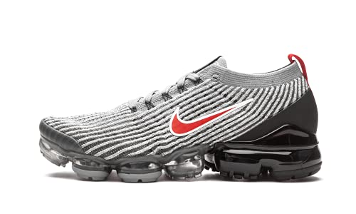 Nike Mens Vapormax Flyknit 3 Running Shoes (Particle Grey/Black/Iron Grey/University Red, 10)