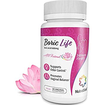 NutraBlast Boric Acid Vaginal Suppositories - 30 Count 600mg - 100% Pure Made in USA - Boric Life Intimate Health Support
