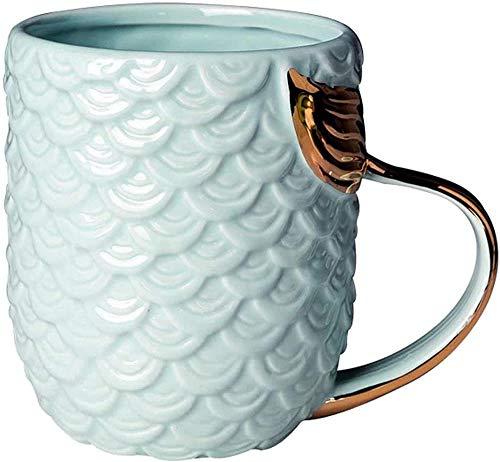 Taza de café con diseño de sirena, de porcelana con mango de cola de sirena, regalo para mujer, regalo para el día de la madre (azul)