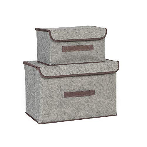 BAYUTE foldable fabric storage box 2 dust-proof storage boxes with flip lid can store clothes shelves books and toys used in family bedroom closet storage boxes