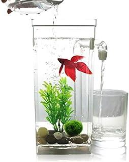 ANTOLE Desktop Square Self Cleaning Goldfish Fish Tank Mini Plastic Betta Aquarium Including accessories