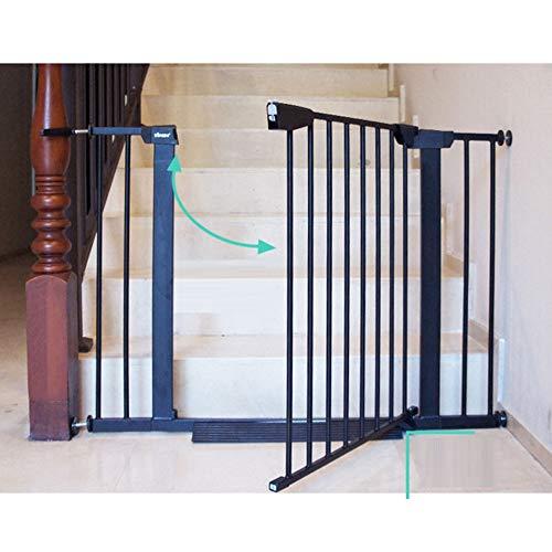 LICHUN Barriere De Securite Enfant Chien Escalier Porte Extensible Fermeture Automatique avec Montage en Pression Cuisine Sécurité (Color : Black, Size : W 145-152cm)