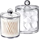 Qtip Dispenser Holder Bathroom Vanity Organizer Apothecary Jars Canister Set for Cotton Ball,Cotton Swab,Q-tips,Cotton Rounds,Bath Salts,Premium Quality Plastic Acrylic Clear | 2 Pack,15 Oz. & 20 Oz.