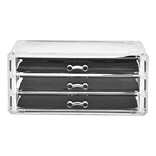 Yuyanshop Caja de almacenamiento cosmética de escritorio del cajón del maquillaje de la mesa transparente de tres niveles cajones titular