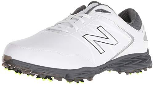 New Balance Striker Herren-Golfschuhe, wasserdicht, mit Spikes, Komfort, Weiß (weiß/grau), 45.5 EU