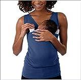 SHANGXIAN Camiseta Mamá Canguro Maternidad de Las Mujeres Sin Mangas Kangaroo Mommy Pocket Tops Enfermería Embarazo Cuidado del bebé Blusa,Mother~C,M