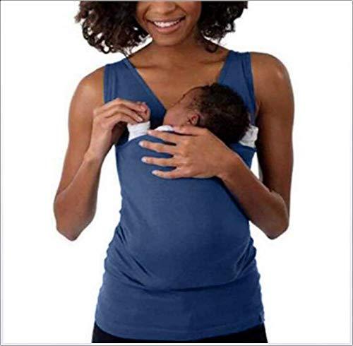 SHANGLY Damen Mutterschaft Panzer Känguru Mama T-Shirts Taschen Oberteile V-Ausschnitt Ärmellos Stillen Bluse Kleidung,Mother~B,L