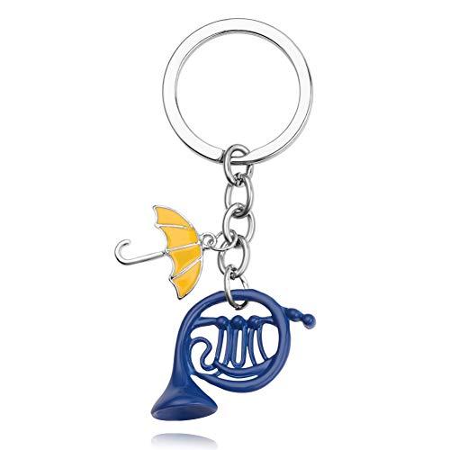 HXYKLM sleutelhanger Hoe ik ontmoette je moeder gele paraplu blauwe Franse hoorn sleutelhanger hanger sieraden
