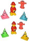 12 TLG. Set Quietscher als lustiger Feuerwehrmann mit Hydrant - mit Gesicht - für Baby ab 0 Monate - Quietschtier / Figur Quietschfigur Badefiguren / Badetier..