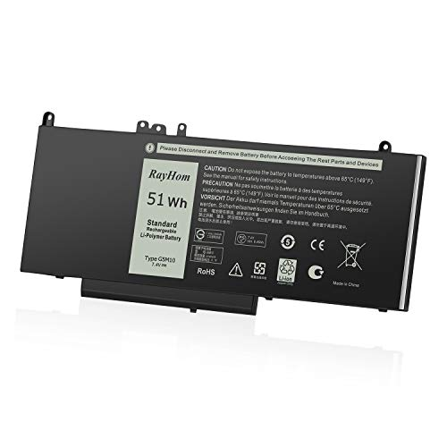 RayHom Replacement G5M10 Laptop Battery - for Dell Latitude 14 E5450 Latitude 15 E5550 Notebook 15.6' 8V5GX R9XM9 WYJC2 1KY05 451-BBLN 7.4V / 51Wh 4Cell