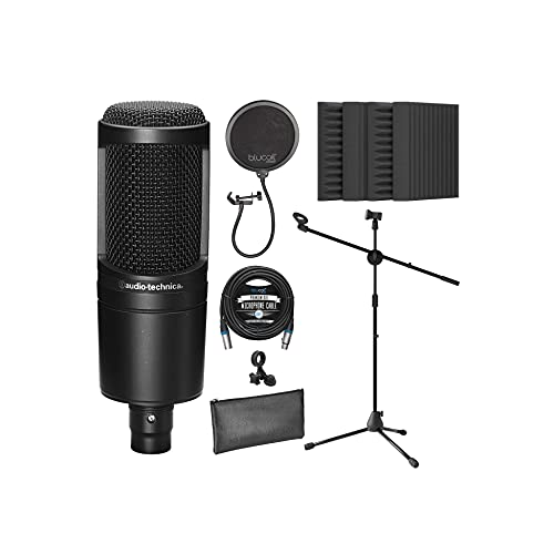 """Audio-Technica AT2020 Cardioid Condenser Microphone for Vocals, Podcasting, Livestreaming for Bundle with Blucoil 20-FT Balanced XLR Cable, Pop Filter, Adjustable Mic Stand, and 4x 12"""" Acoustic Wedges"""