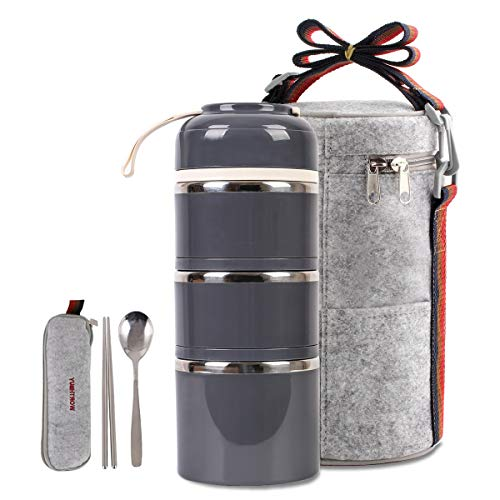 Cute Lunch Box Insulated Lunch Bag Bento Box Food Container Storage Boxes With Spoon For Adults Office Camping (3 Tiers(grey)) …