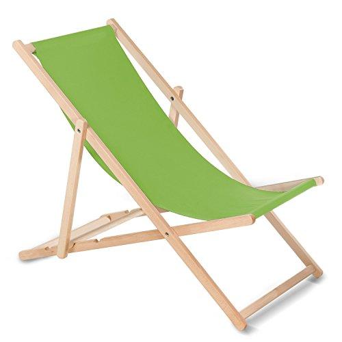 GreenBlue Liegestuhl Sonnenliege Klappbar aus Buchholz ohne Armlehne in 10 Farben Sonnenliege Gartenliege Liege (Hellgrün)