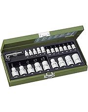 """PROXXON Specjalny zestaw do kluczy nasadowych TX, wewnętrznych i zewnętrznych -TX do napędu 1/4"""" i napędu 1/2"""", 24-częściowy zestaw narzędzi ze stalową skrzynką, 23102"""