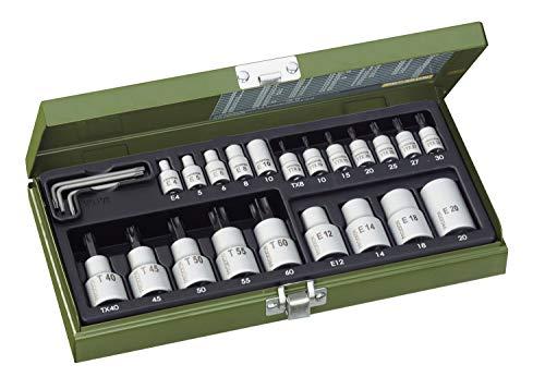 """PROXXON Spezialsatz für TX-Steckschlüssel, Innen- und Außen-TX für 1/4""""-Antrieb und 1/2""""-Antrieb, 24-teiliges Werkzeug-Set mit Stahlkasten, 23102"""