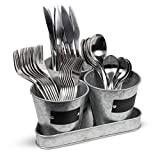 Galvanized Caddy Storage Set of 3 Buckets with Tray Decorative Organizer Utensil Holder Forks Spoons Knives -Perfect for Desk Supplies Pencil Pens and Staples