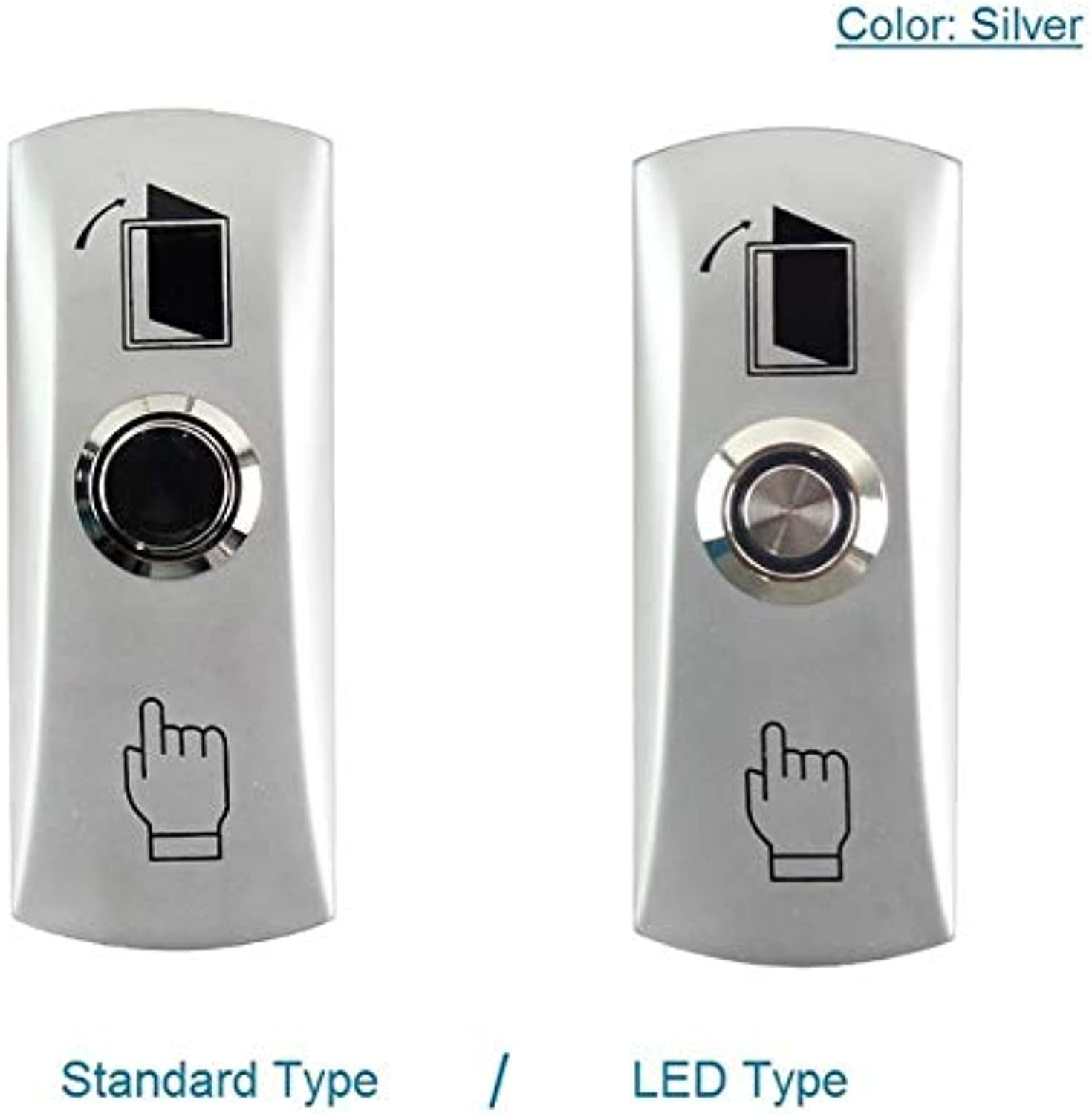 Aluminum Alloy Door Exit Button Access Control Door Release Switch with Back Box  (color  Silver, Size  LED Type)