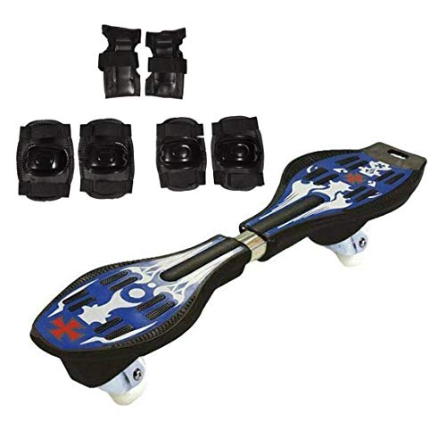 Hipkoo Sports Sterling Waveboard PU Wheels with LED Lights (Protective Set of 3 Elbow, Knee and Hand Guards) with Bag