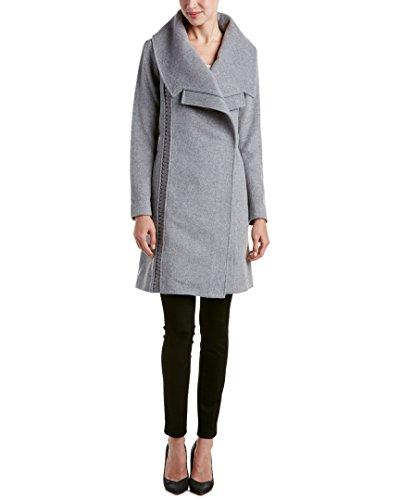 Badgley Mischka Nikki Mujer Italiana de Longitud Mediana Cashmere Abrigo de Lana con Cuero Trenzado, Gris, M