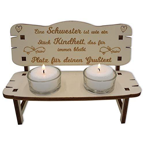 Namofactur Beste Schwester Geschenke Teelicht Bank - Holzbank personalisiert mit Wunsch-Gravur I Holz Geschenke zu Weihnachten