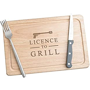 Licence to Grill Wooden Chopping Board - Meat Serving Board - Funny Gifts for Men Birthday Christmas - Novelty Cooking Gifts for Men - Kitchen Gifts for Men - Gifts for Men Who Cook - James Bond Gifts:Dailyvideo