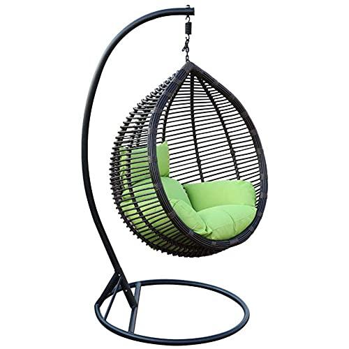 DFGH Sillón de jardín Colgante - Cesta Colgante - cojín - Estructura Silla Colgante Lounge Cesta Columpio sillón con Soporte de Acero Robusto