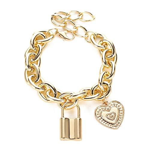 DJMJHG Oro Plata Color Metal Candado Colgante Cerradura Charm Key Colgante Charm Pulsera para Mujeres Hombres Cadenas Link Regalo Pulseraqwsl27A01