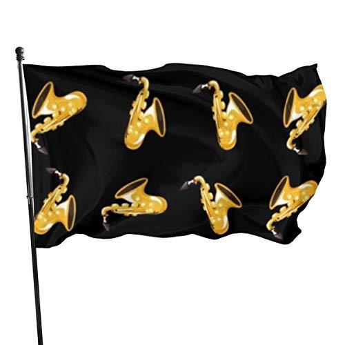 N/A American Guard Vlag Banner Home Vlaggen Muziek Saxofoon Cartoon Zwart Verticale Garde voor Familie Patio College Decoratie 3x5 Voet