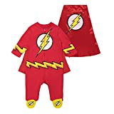 Warner Bros. Justice League The Flash Baby Boys Costume Coverall Footies & Cape (3-6 Months)