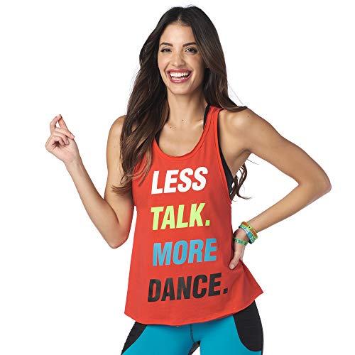 Zumba Fitness Dance Atlético Estampado Fitness Camiseta Mujer Sueltas de Entrenamiento Top Deportivo Loose Tank, Really Red-y 1, M