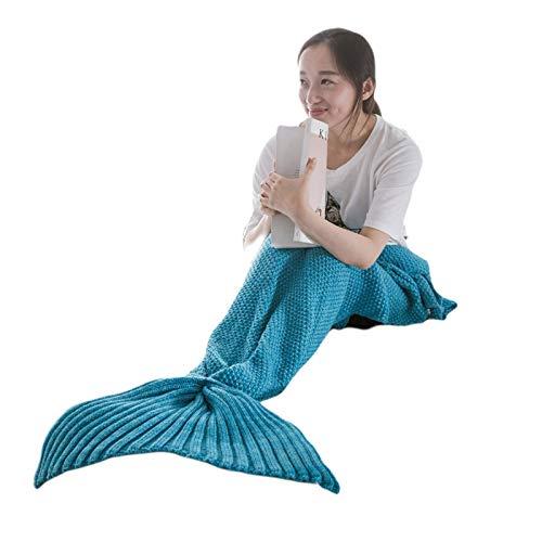 Linbing666 Adult Gestrickte Meerjungfrau Decke weich und bequem Schlafsack Decke All Seasons 180 cm x 80 cm, für Sofa, Bett, Camping, Geschäftsreise, Blau