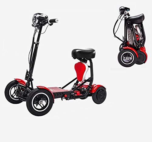 Folding elektrischen 4-Rad-Roller, Erwachsene Außen Wagon Lithium 36V 15A / schnellste Geschwindigkeit 40KM / H/Load 120 kg für ältere Behinderte Männer Frauen,Rot