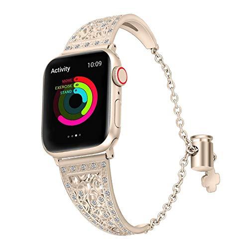 CGGA Bling - Pulsera de lujo para Apple Watch de 38 mm y 40 mm para iWatch Series 5/4/3/2/1, correa de reloj de pulsera de diamantes rosa (color de la correa: champán, tamaño: 42 mm y 44 mm)