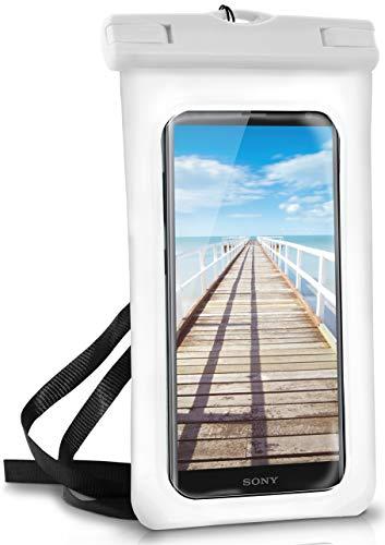 ONEFLOW wasserdichte Handy-Hülle für alle Sony Xperia | Touch- und Kamera-Fenster + Armband & Schlaufe zum Umhängen, Weiß (Pear-White)