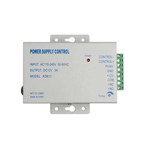 TMEZON 110-240VAC a 12VDC Controlador de fuente de alimentación para sistema de control de acceso y cámara de intercomunicador