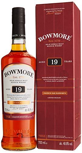 Bowmore 19 Jahre Single Malt Scotch Whisky, mit Geschenkverpackung, gereift in französischen Barriquefässern, 48,9% Vol, 1 x 0,7l