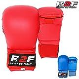 R2F Sports WKF PU Senza Pollice Karate Mitts Arti Marziali MMA Muay Thai Sparring Formazione Guanti