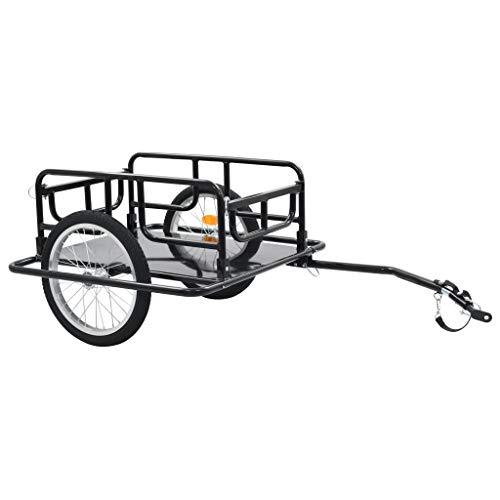 vidaXL Remorque de Bicyclette Chariot à Main Remorque pour Vélo Remorque à Bagages 50 kg Chariot de Transport Jardin Extérieur 130x73x48,5 cm Acier Noir
